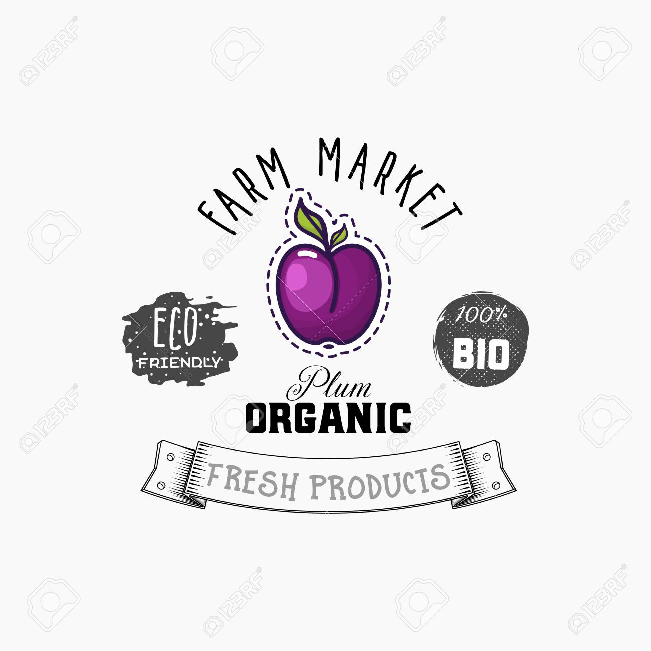 Bio sticker and eco products. Plum web element, Isolated Vector. - 104577025