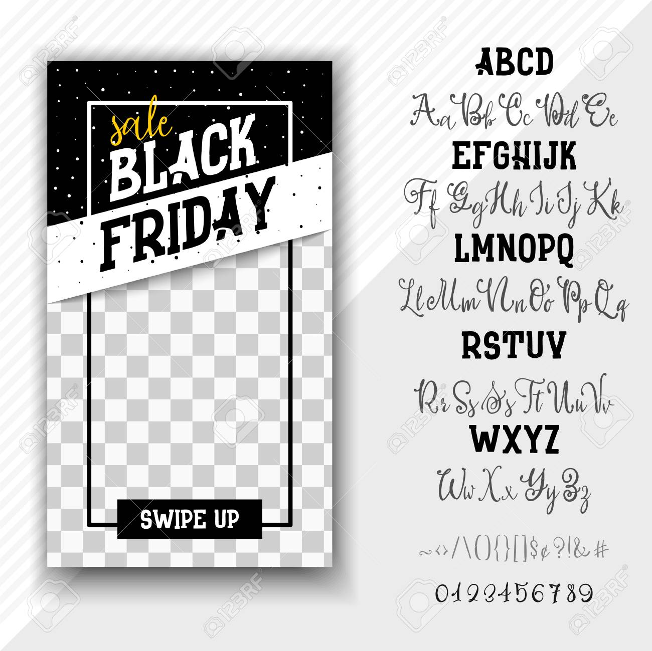 Stories Template Social Media Black Friday Hand Drawn Typeface Set Vector Logo Font Typography Alphabet For Your Designs Badge Typeface Card