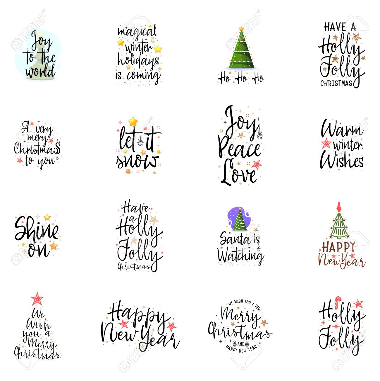 Christmas Posters.Slogans For The New Year Christmas Posters For An Interior Or