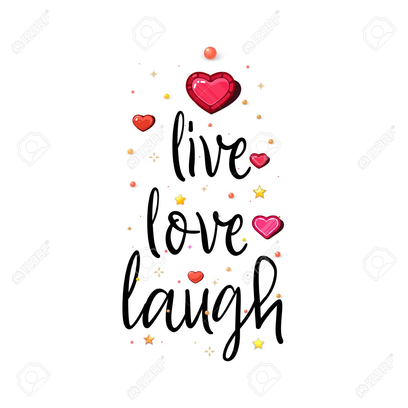 Live Love Laugh. The slogan of love on a white background in handwriting around realistic hearts and stars. - 127258001