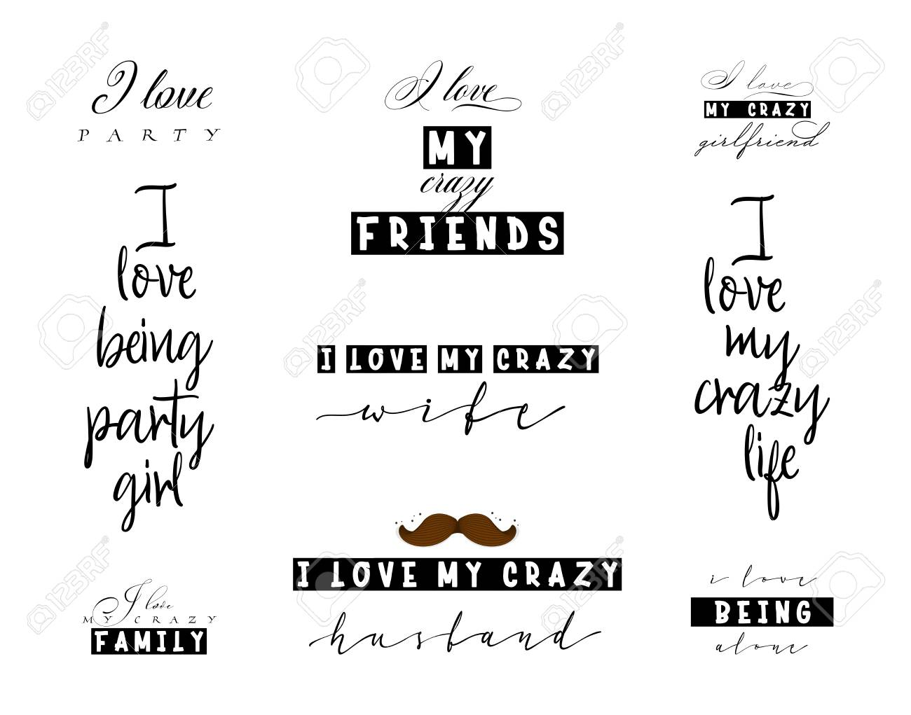 Crazy love quotes for t-shirt posters and slogans for interior..