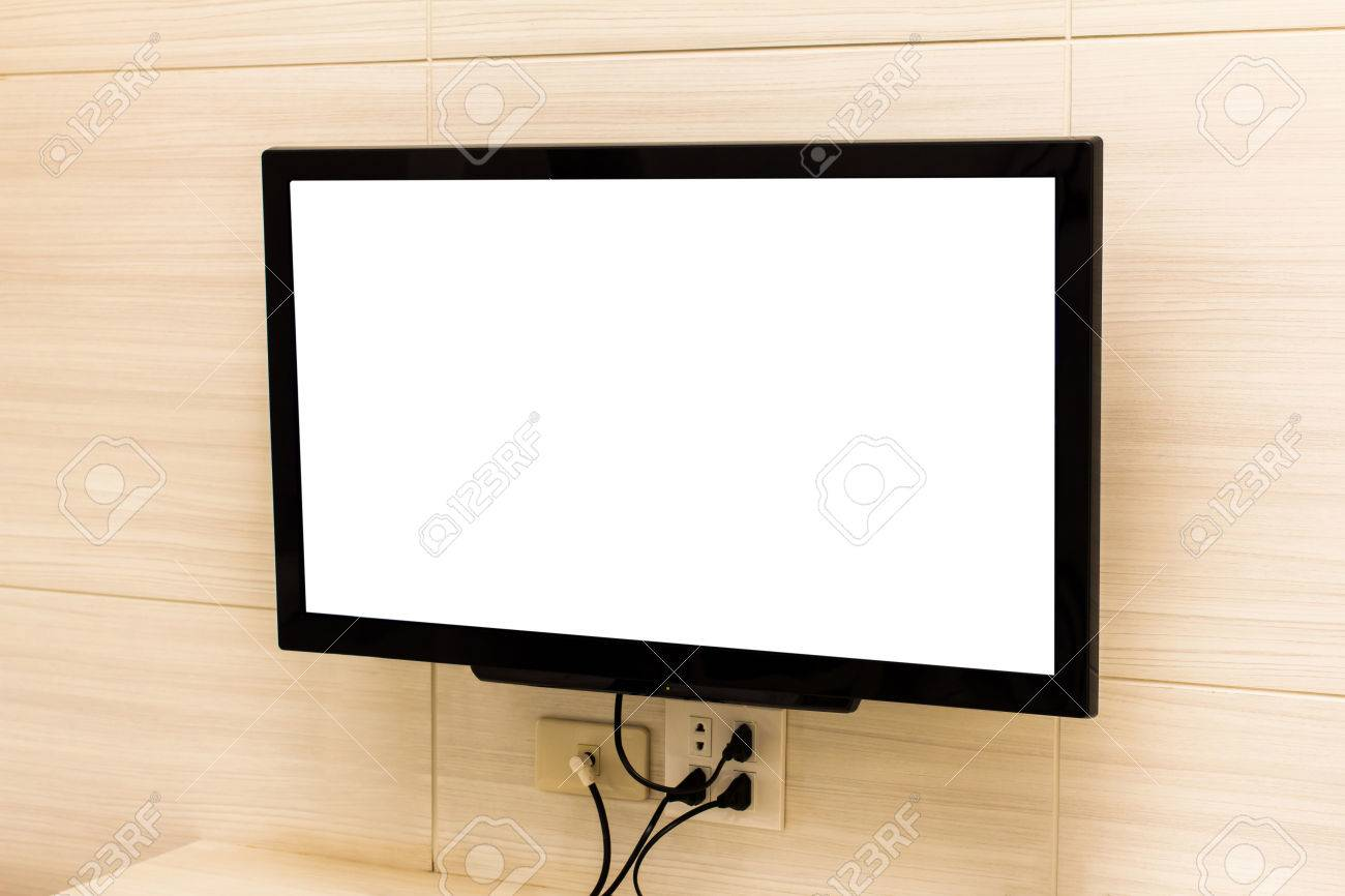Plasma Tv Hanging On Wall Stock Photo Picture And Royalty Free Image Image 64525163