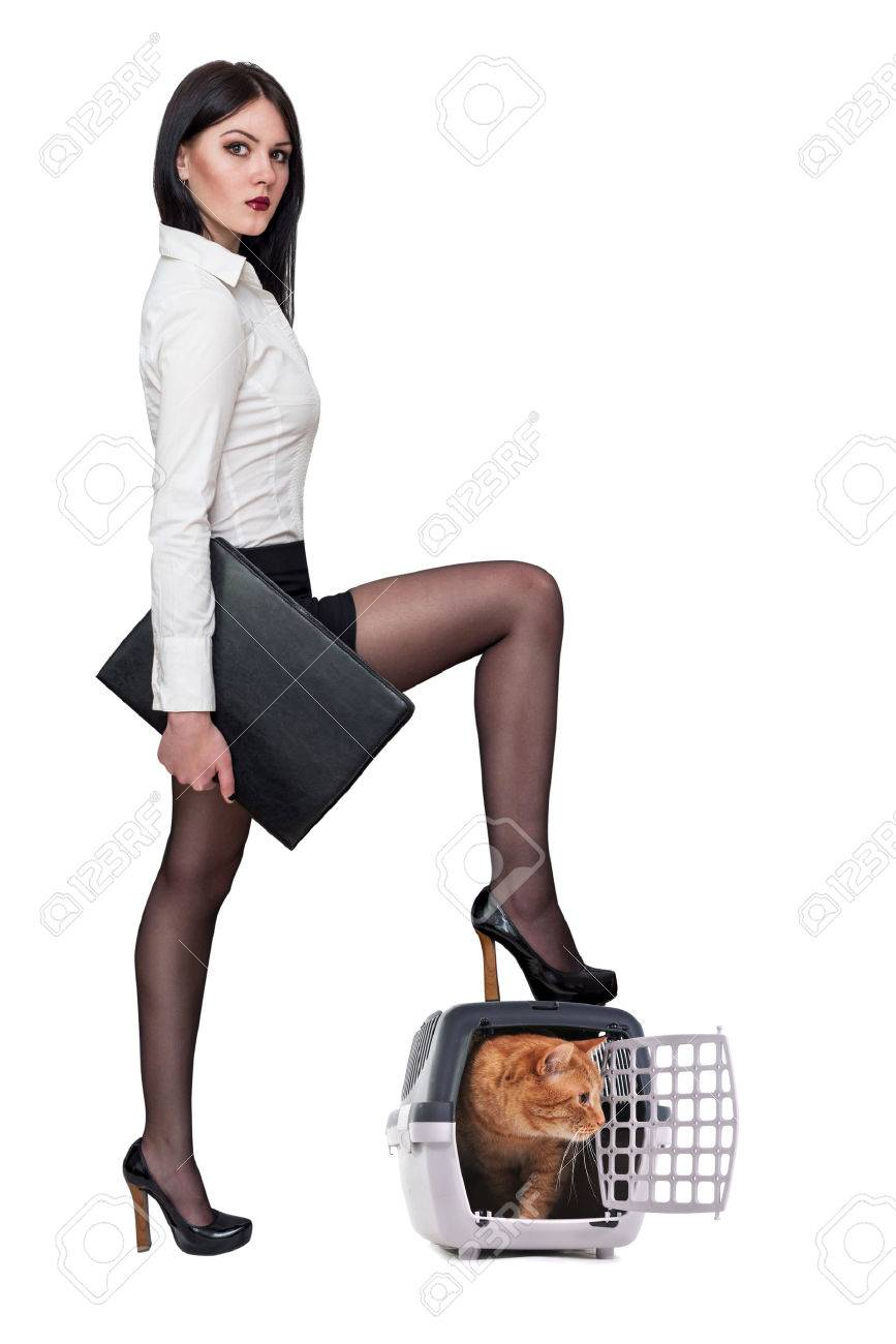 01c14762f439ca beautiful sexy girl in the office clothes on a white background Stock Photo  - 40450255