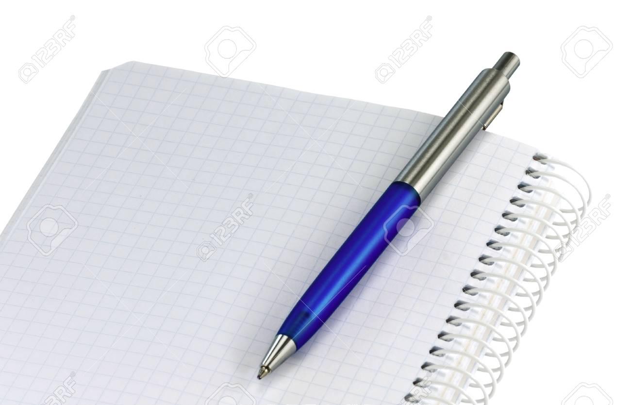 Open spiral notebook with blue ballpoint pen Stock Photo - 4601369