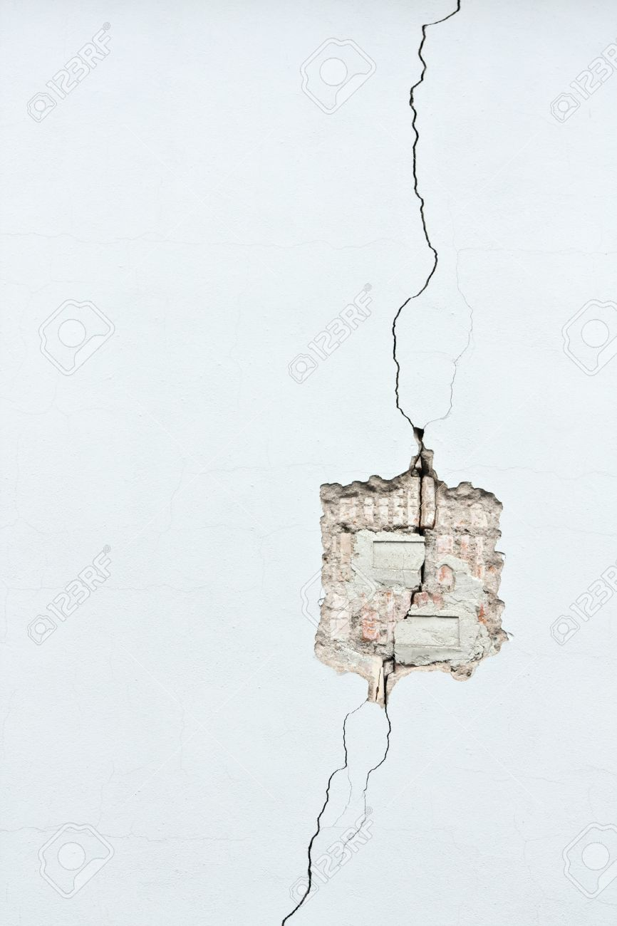 Cracked brick wall drawing brick wall - White Painted Brick Wall With Large Crack Stock Photo 8509486