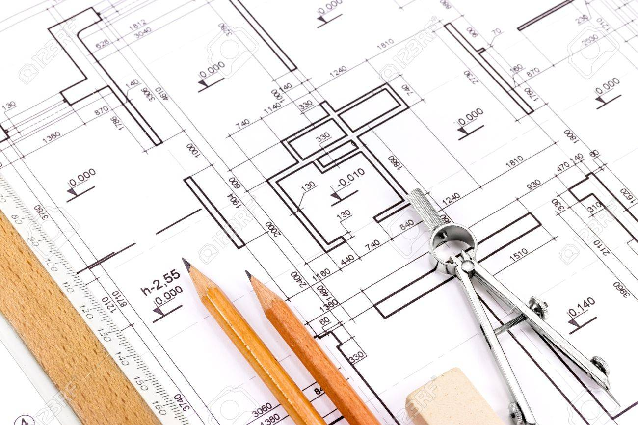 Blueprint Floor Plans With Drawing Tools Stock Photo 18270311