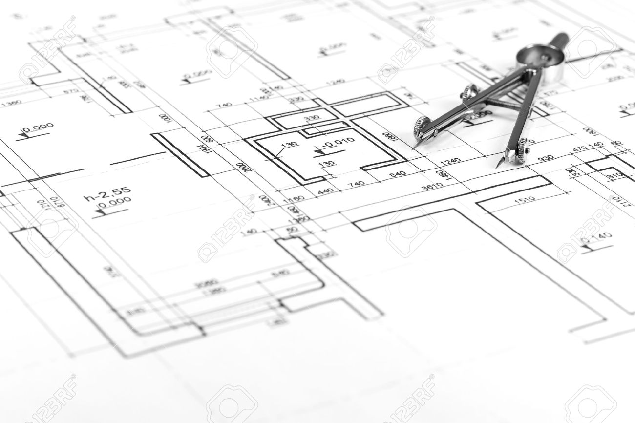 Drawing Compass On Architectural Blueprints Stock Photo   18270297
