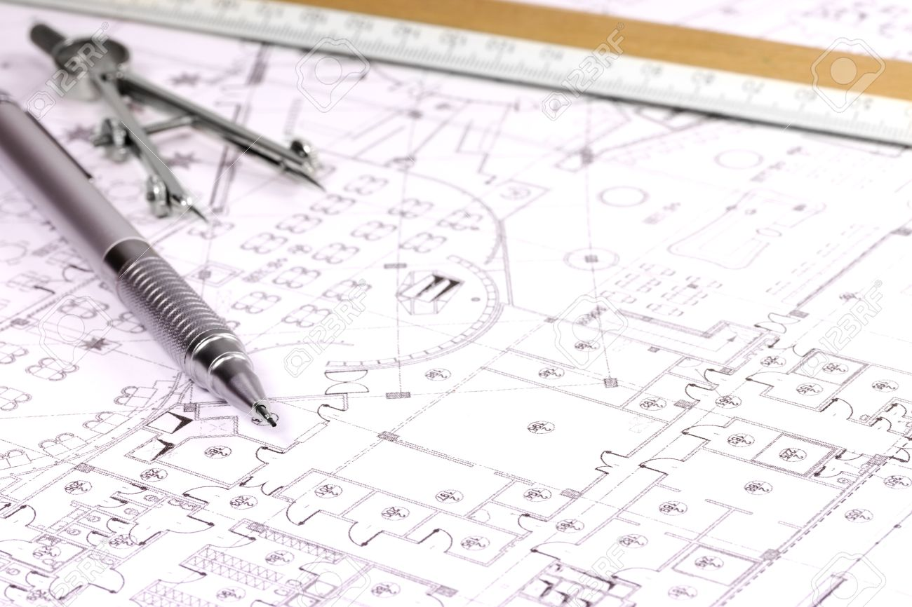 architectural plan, pencil and scale ruler stock photo, picture