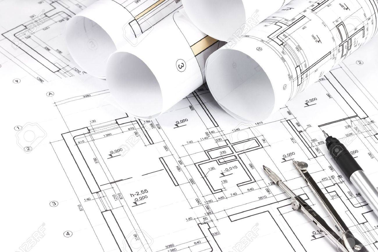 Blueprint Floor Plans With Drawing Tools Stock Photo 18495298