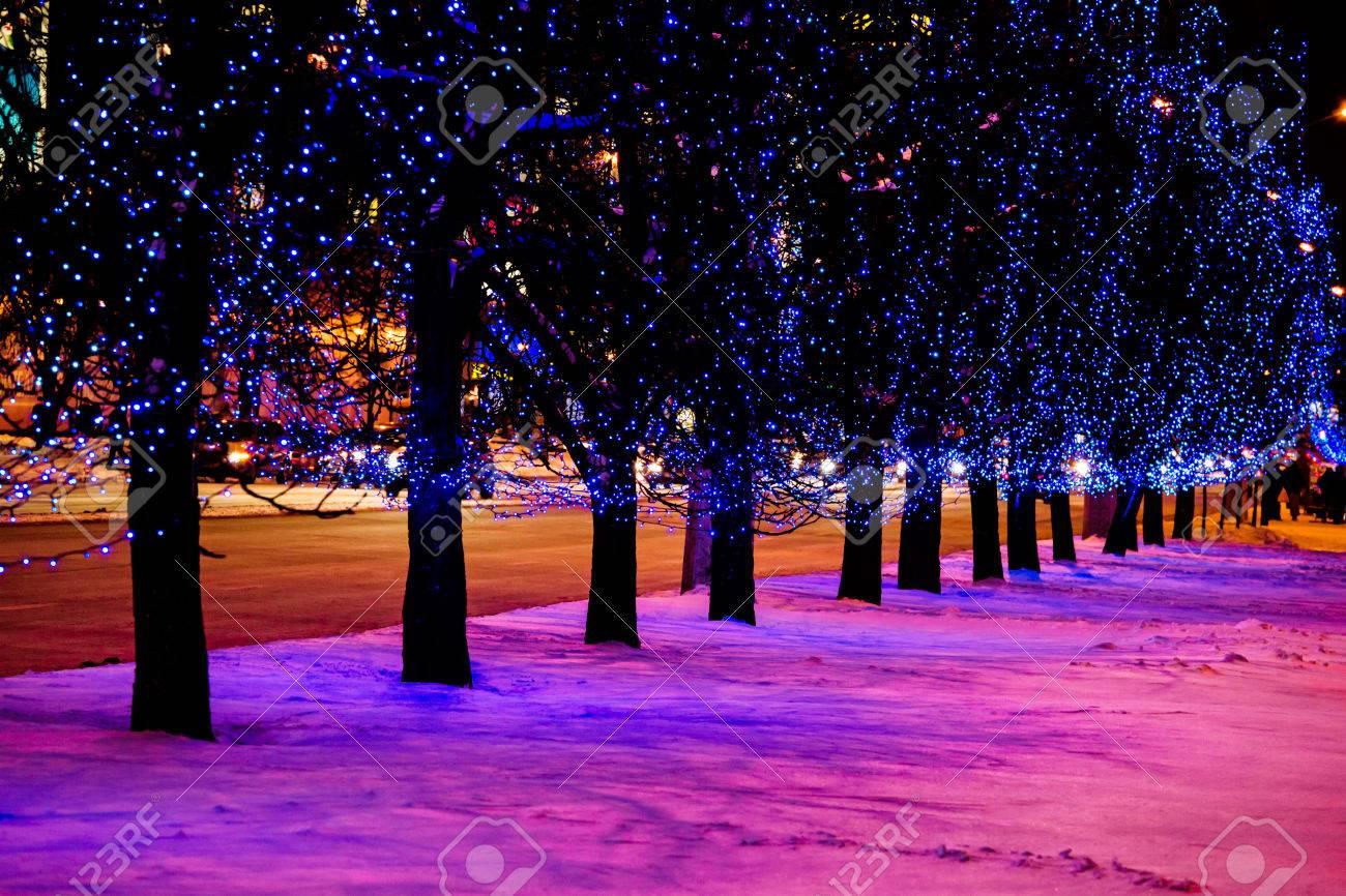 Night lights holiday - Night City Street Holiday Lights Stock Photo 23862898