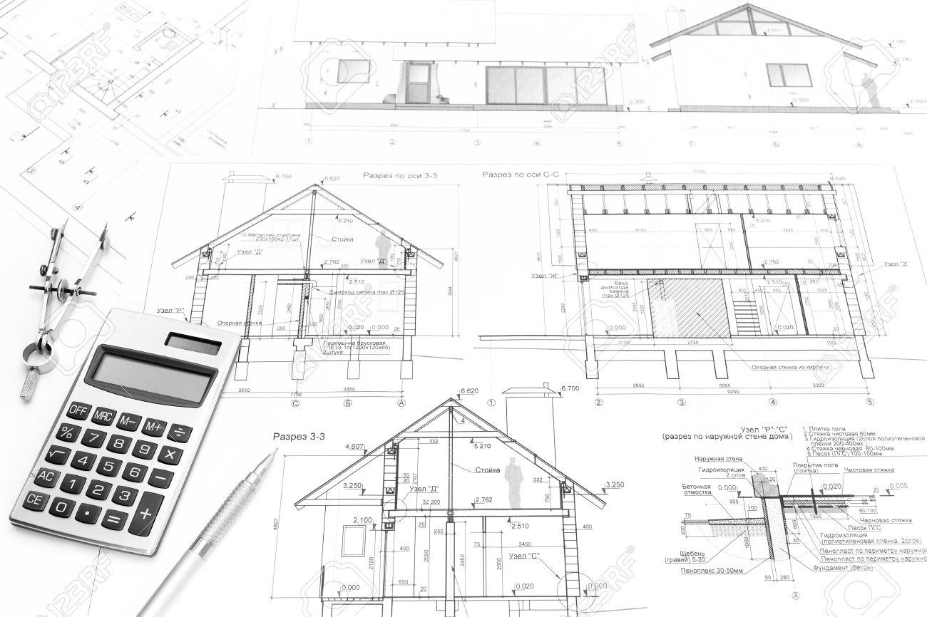 dessin boussole calculatrice crayon et dessins darchitecture de maison moderne banque d - Maison Moderne Dessin