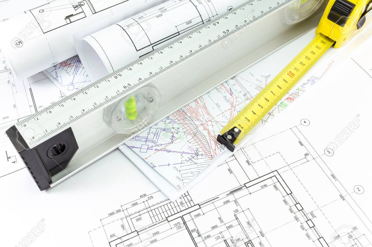 House building construction plans with spirit level and tape house building construction plans with spirit level and tape measure stock photo 26969291 pooptronica