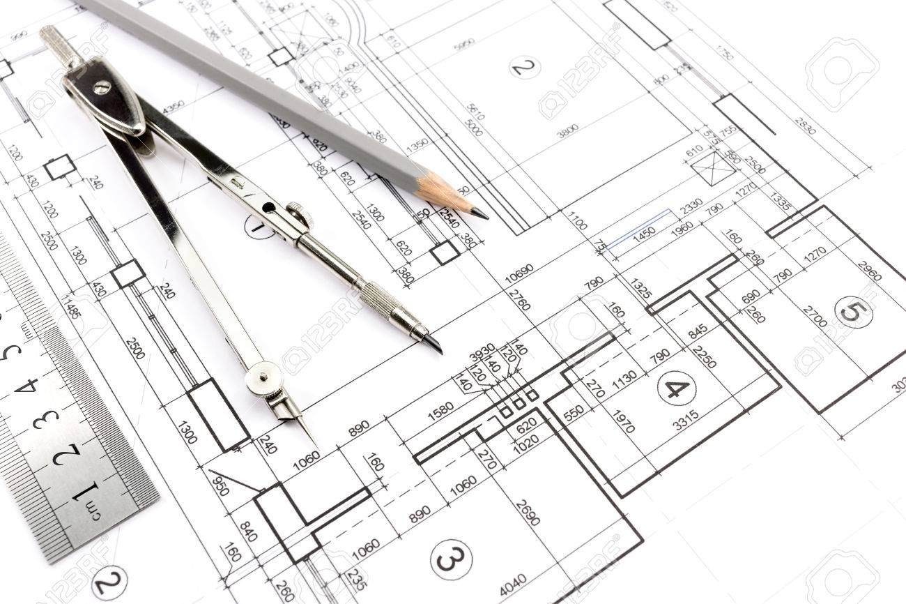 House Building Construction Plans With Pencil And Drawing Compass Stock  Photo   26969293