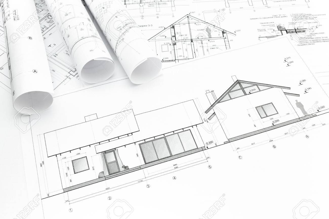 27077782 Architectural Blueprints Of New Home And Construction Plans Rolls Stock Photo Architectural Blueprints Of New