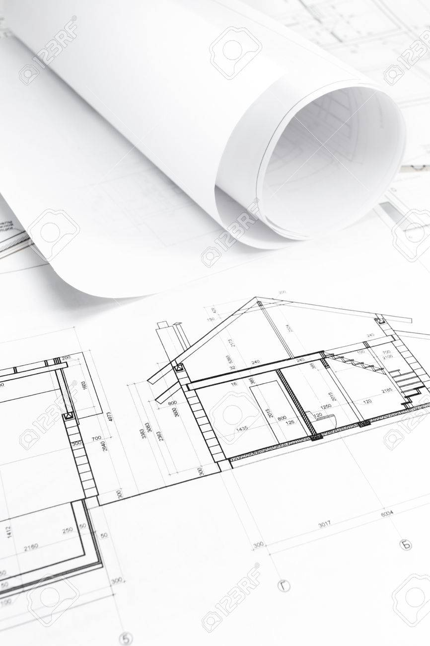 Architectural background with rolls of technical drawings and architectural background with rolls of technical drawings and blueprint stock photo 27077792 malvernweather Choice Image