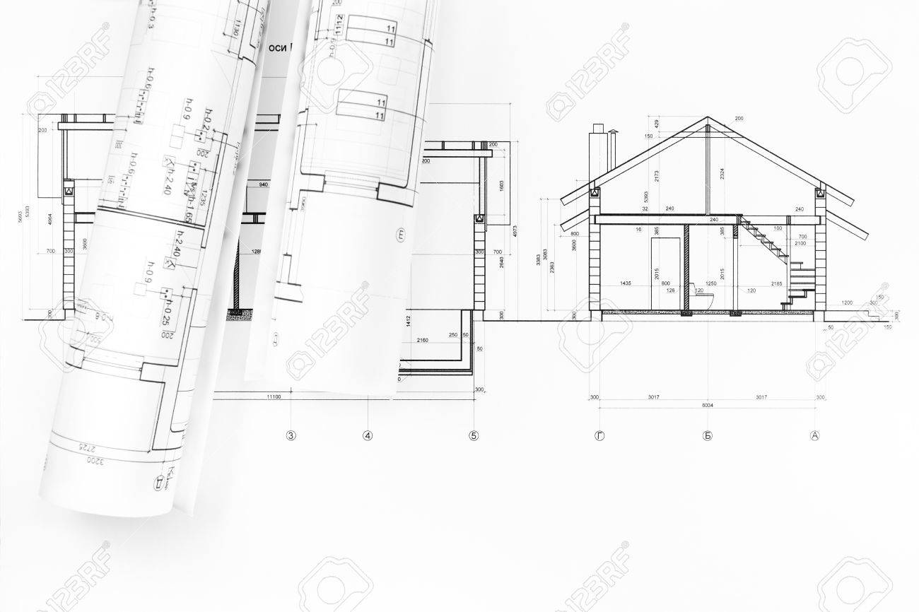 architectural drawings of modern houses. Interesting Modern Rolls Of Blueprints And Architectural Drawings The Modern House Stock  Photo  27077812 Throughout Architectural Drawings Of Modern Houses