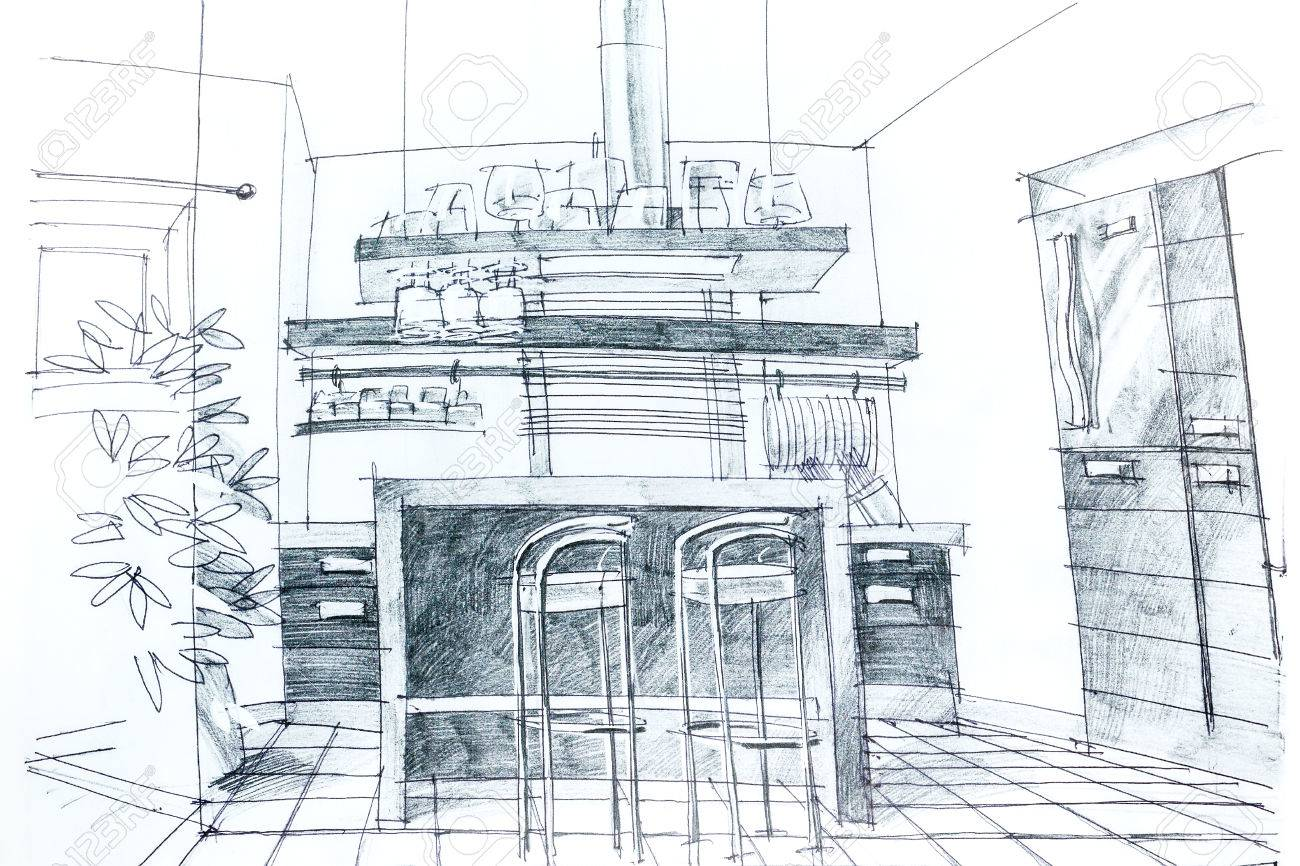 Graphical sketch by pencil of an interior kitchen architectural drawing stock photo 27346106