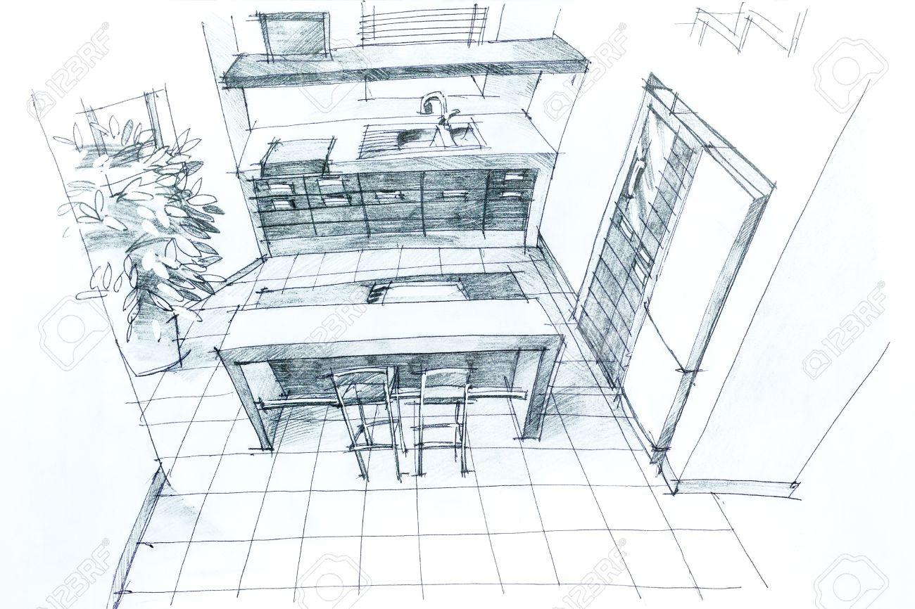 schizzo grafica a matita di una cucina interna. disegno ... - Disegni Cucine