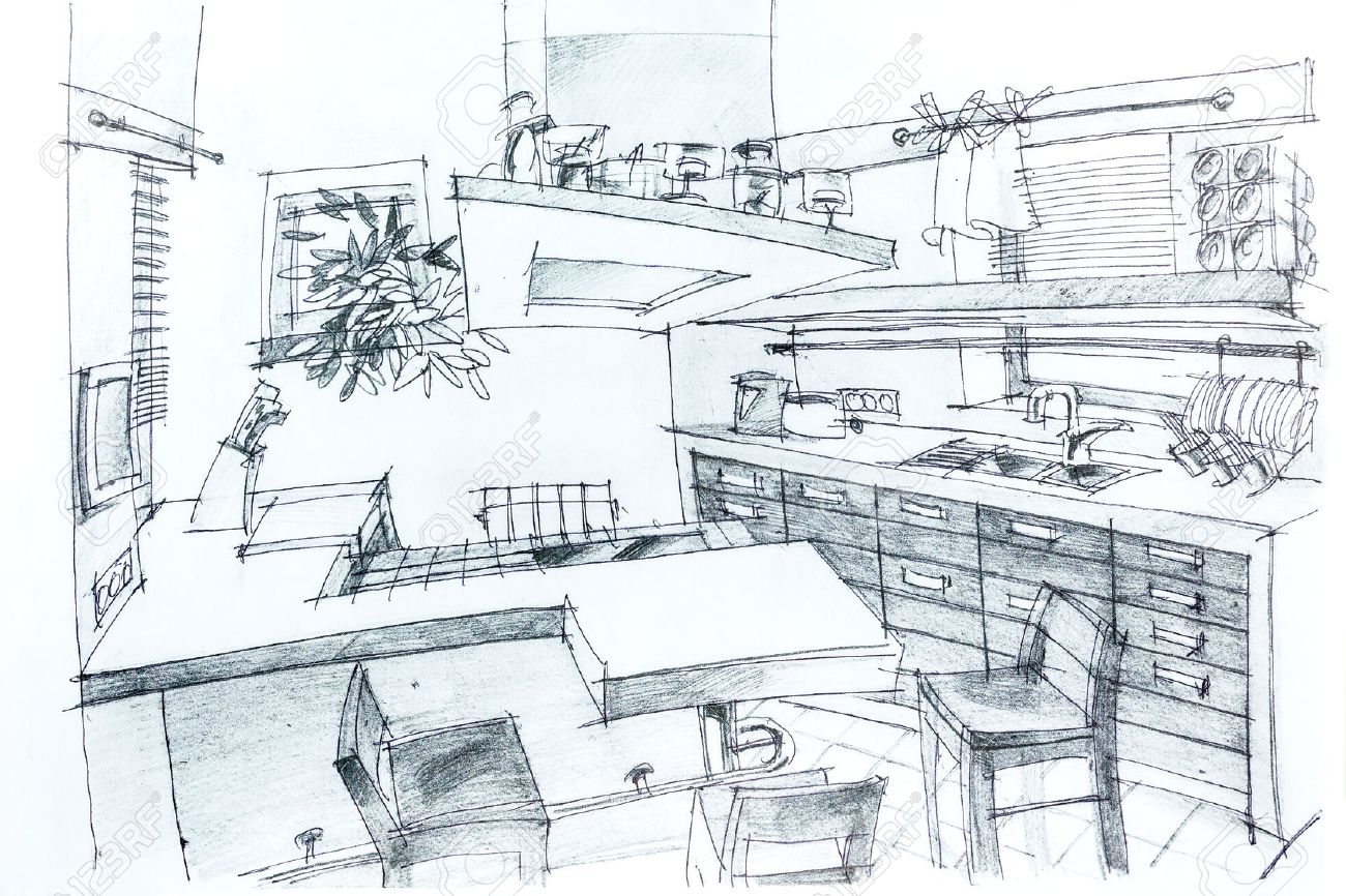 Graphical sketch by pencil of an interior kitchen architectural drawing stock photo 27345743
