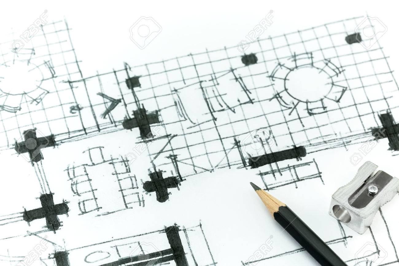 Grafische skizze mit bleistift von haus zu planen handzeichnung lizenzfreie bilder 27345756