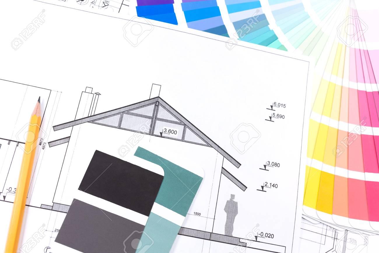 Dessins d\'architecture de la maison et des échantillons de couleurs  catalogue moderne
