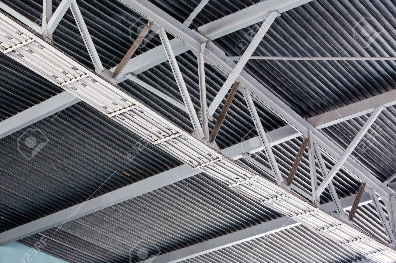 Ceiling Fragment Of Metal Roof Of Industrial Building Stock Photo