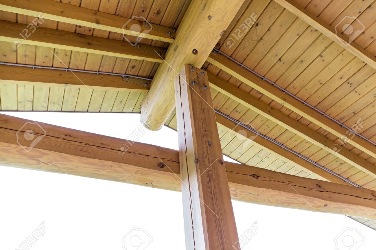 Interior View Of A Wooden Roof Structure, Rafters And Trusses Stock ...