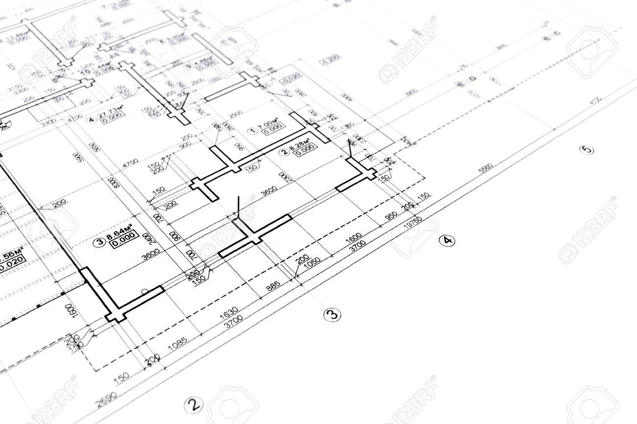 House Plan Blueprint Architectural Drawing Part Of Architectural ...