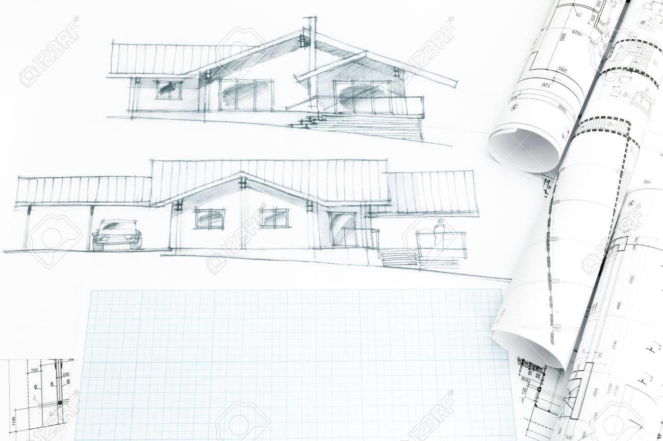 Dessin A La Main De La Maison Avec Des Plans Et Des Rouleaux De Plans Banque D Images Et Photos Libres De Droits Image 41293317