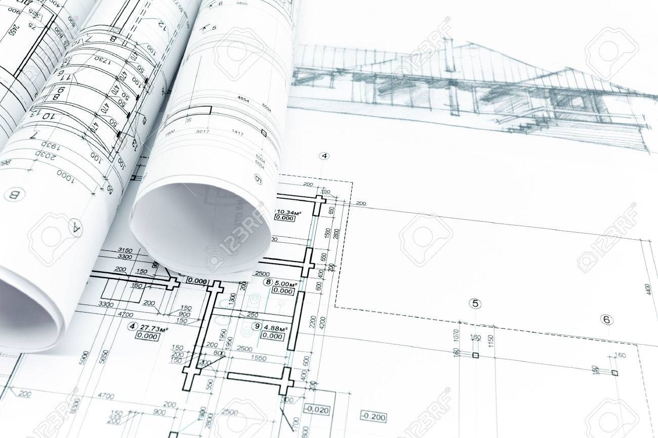 House sketch with engineering and architecture blueprints stock house sketch with engineering and architecture blueprints stock photo 41293320 malvernweather Image collections