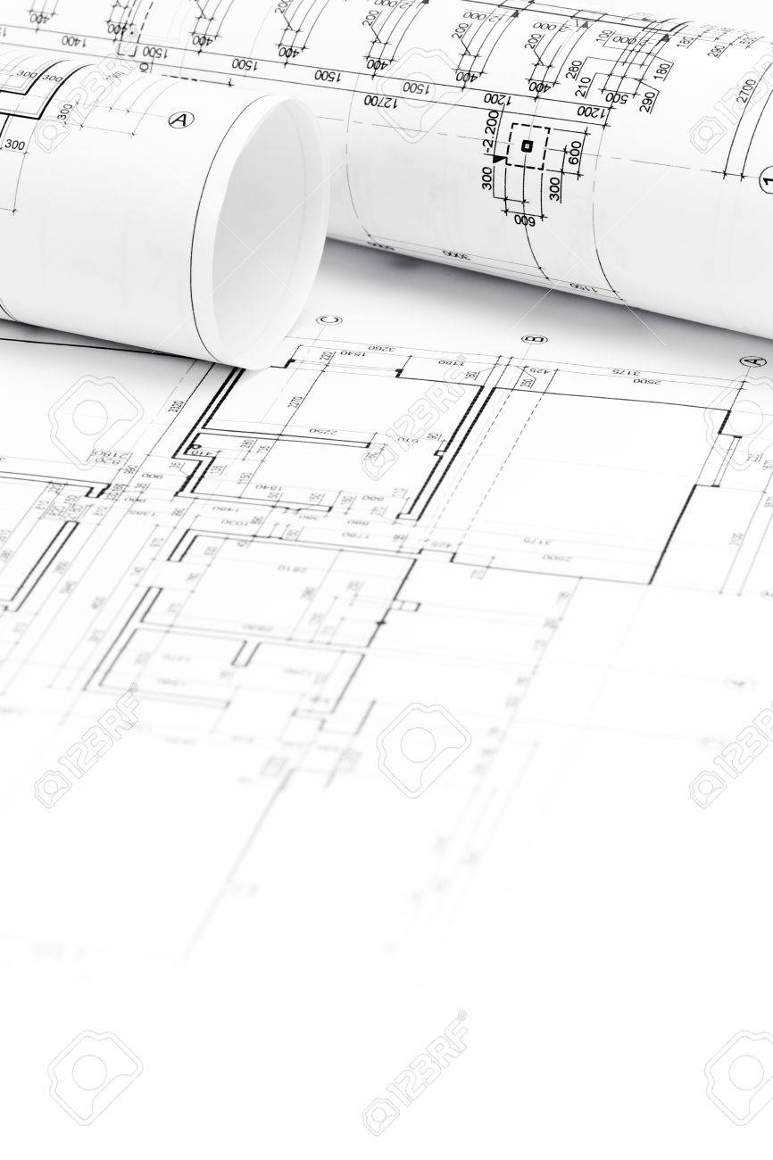 Architectural Background With Floor Plans And Rolled Technical