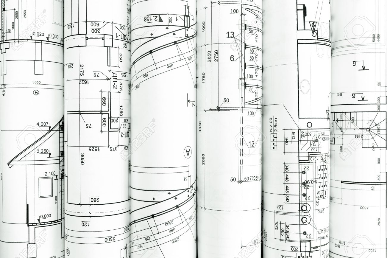 Rolls of architecture blueprints and technical drawings rolls of architecture blueprints and technical drawings architectural background stock photo 41293392 malvernweather Images
