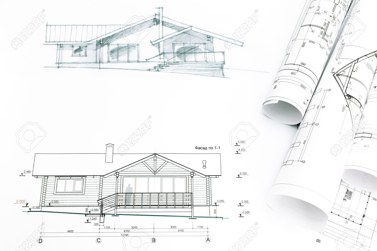 House sketch with engineering and architecture blueprints stock house sketch with engineering and architecture blueprints stock photo 41293393 malvernweather Image collections