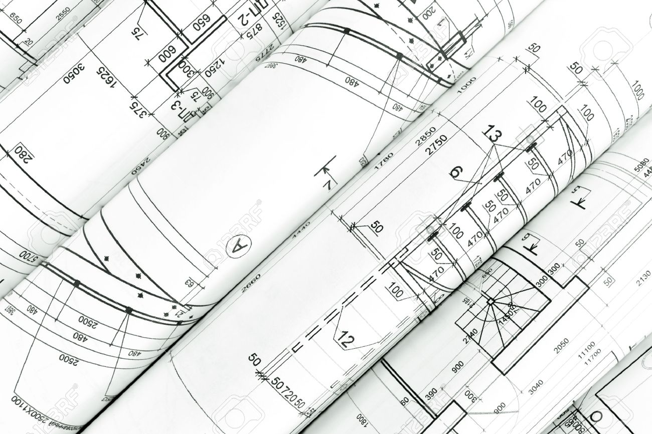 Rolls Of Architecture Blueprints And Technical Drawings