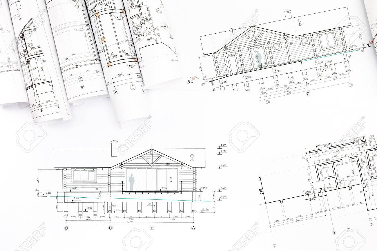 olls Of Blueprints Of New Modern House rchitectural Background ... - ^