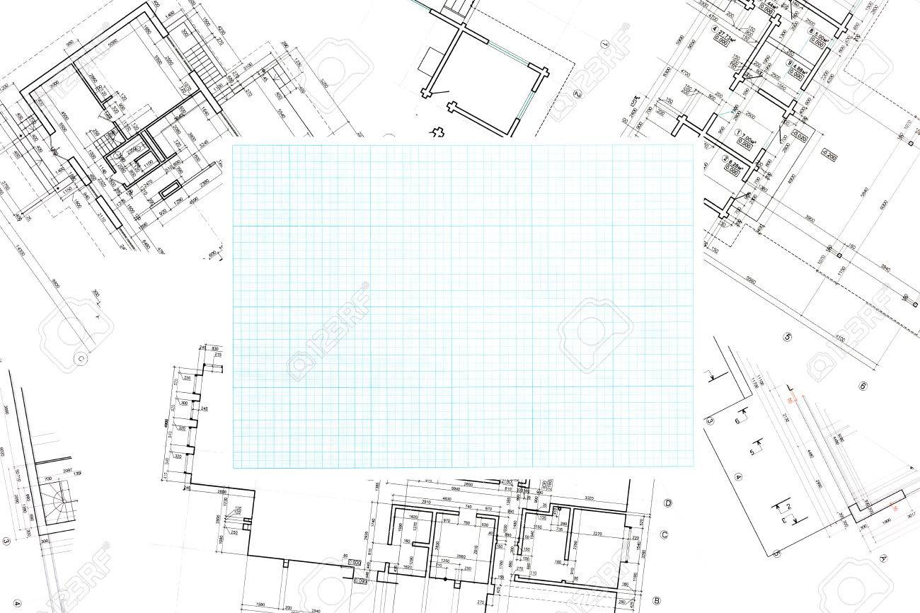 blue grid graph paper on blueprints background stock photo picture