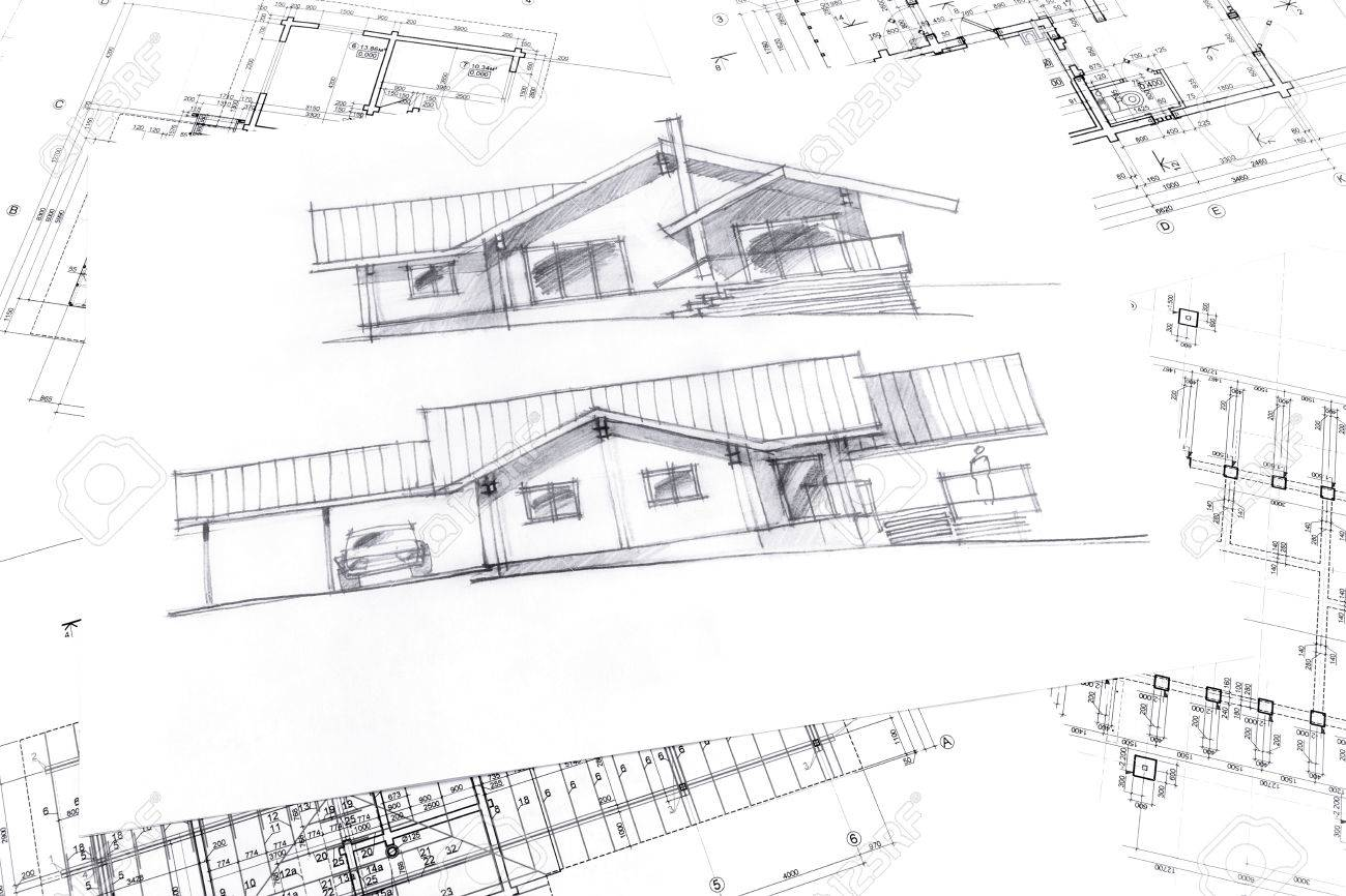 Top view of architecture hand drawn sketch and house plan blueprints stock photo 41949267