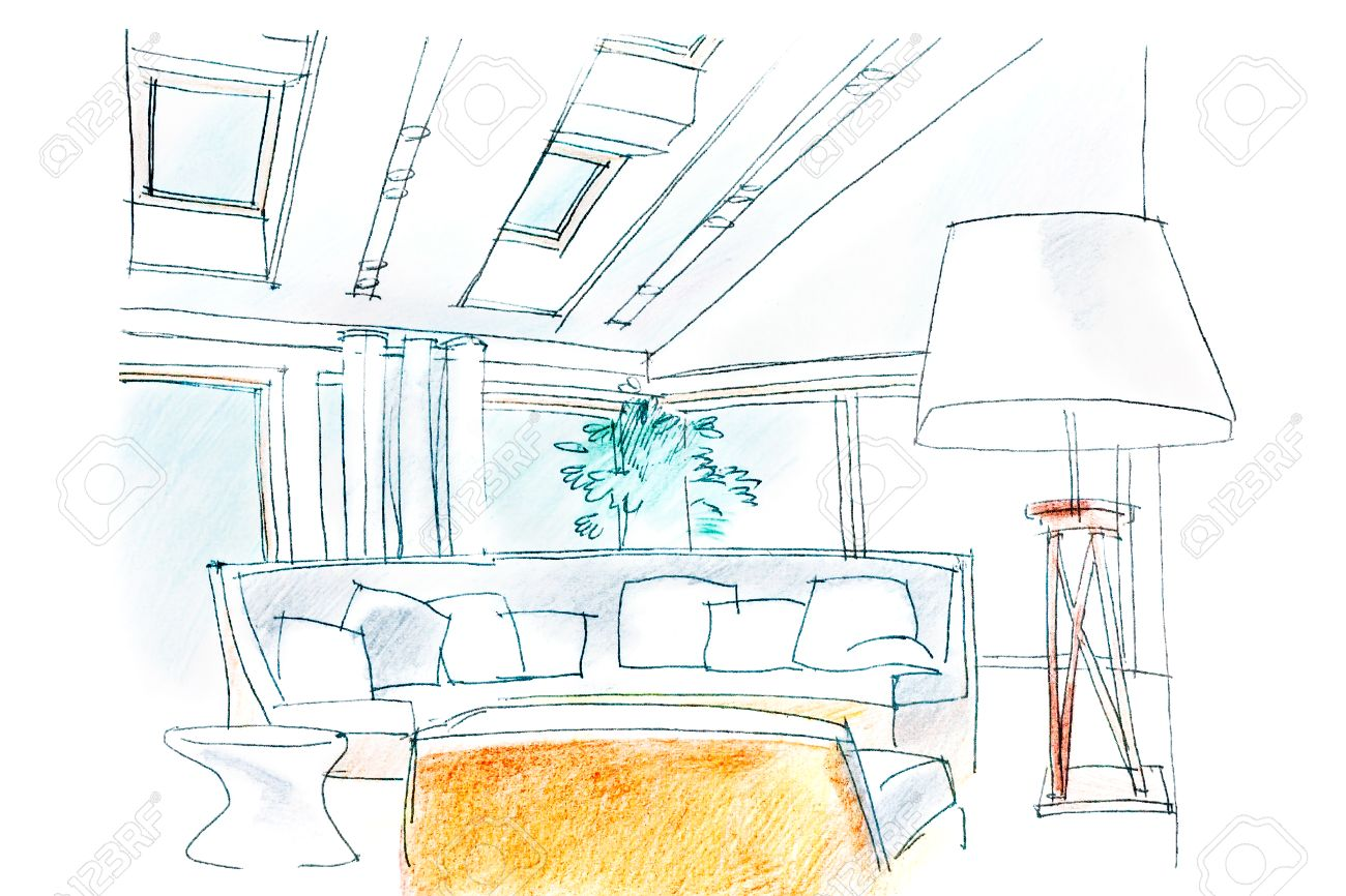 Hand Drawing Interior Perspective Of Modern Living Room Stock Photo ...