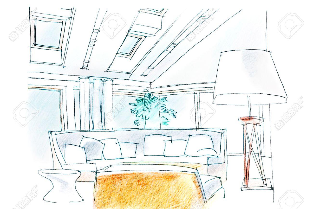 Main Dessin Perspective Intérieure Du Salon Moderne Banque D\'Images ...