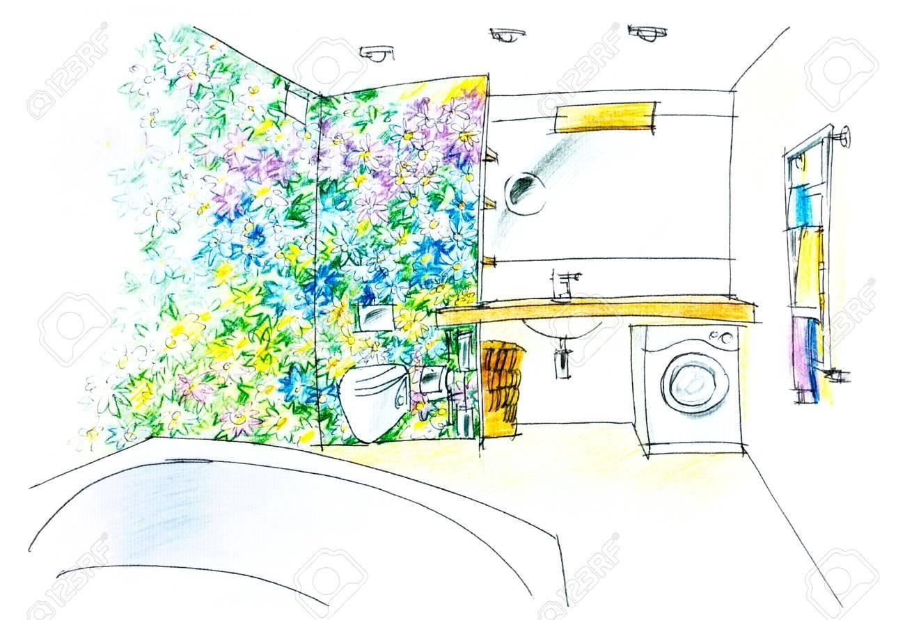 Salle De Bain Fleurie ~ esquisse d une salle de bains avec un panneau fleuri color banque d