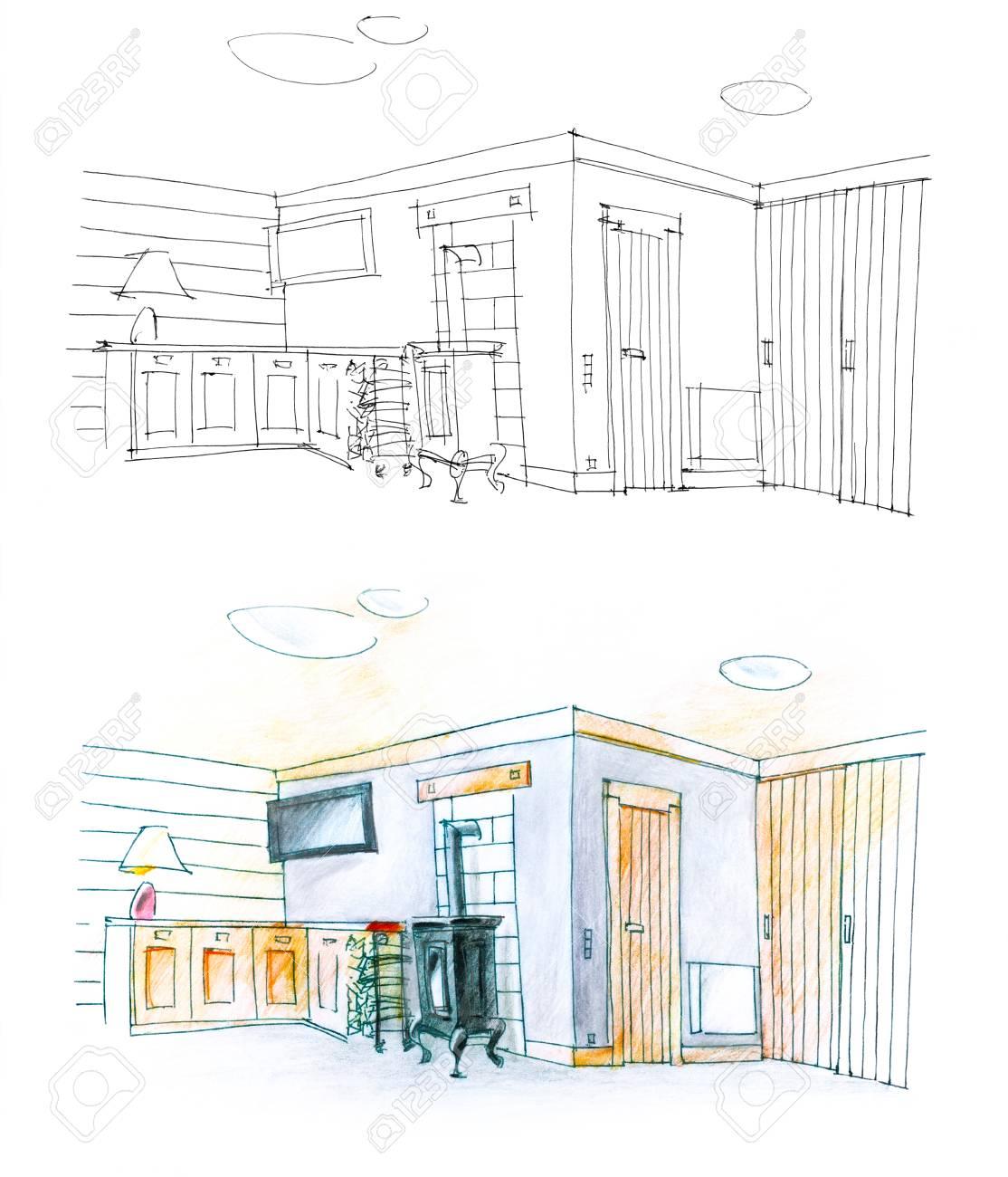 Diptyque coloré et noir et blanc d\'une chambre d\'hôtel et le dessin
