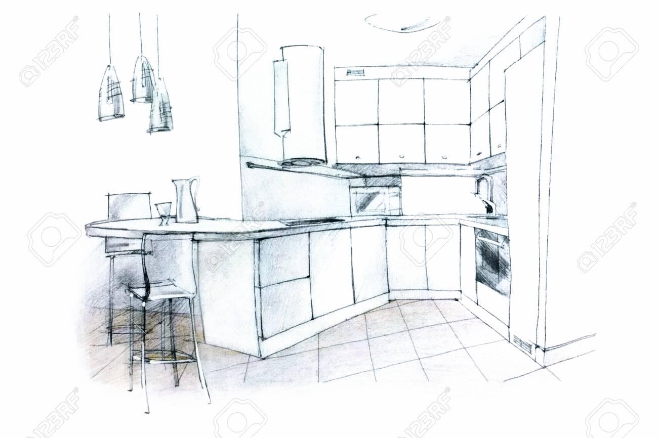 Designer Monochrome Hand Interieur Perspektive Einer Kuche Zeichnen