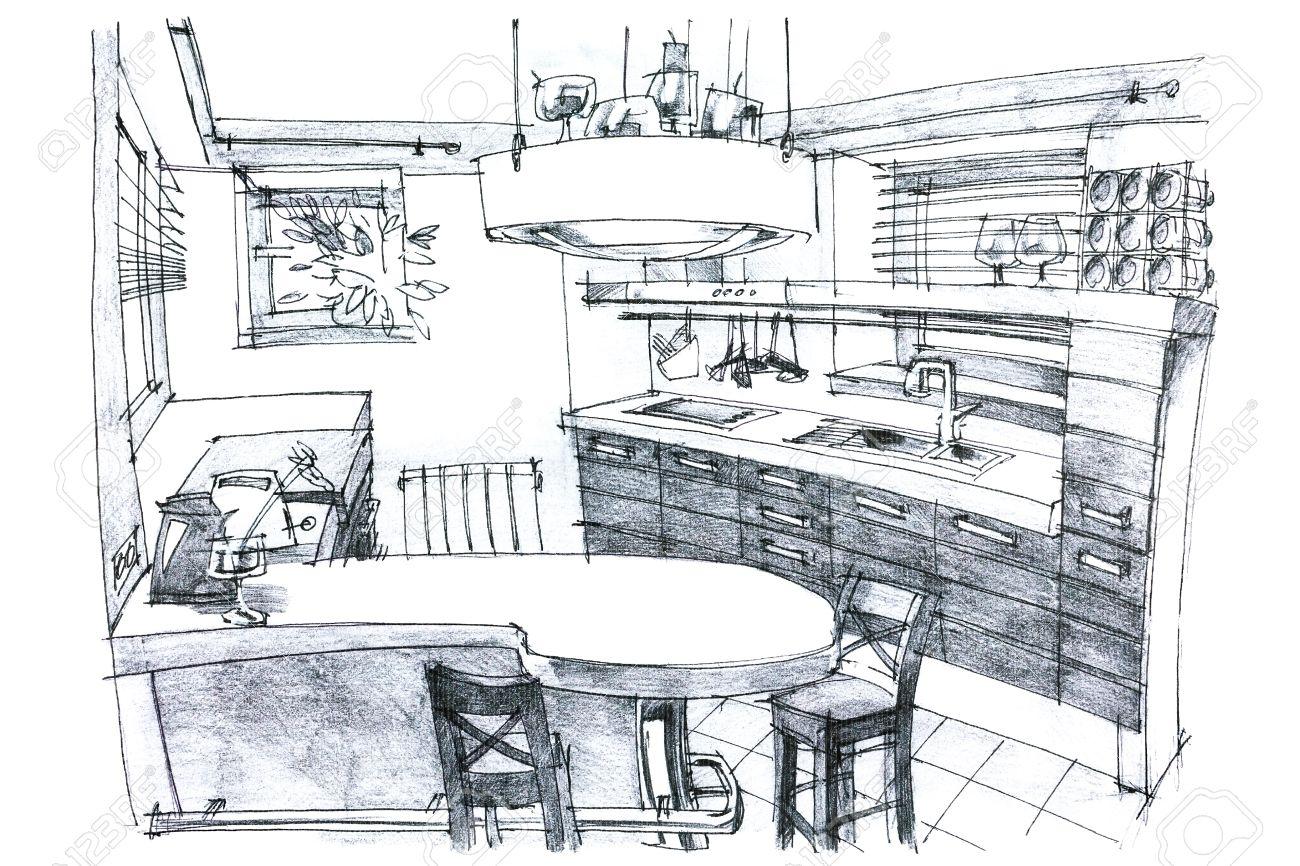 Bon Banque Du0027images   Intérieur Dessin à La Main La Perspective Du0027une Cuisine  Moderne Et élégant En Noir Et Blanc Avec Des Meubles