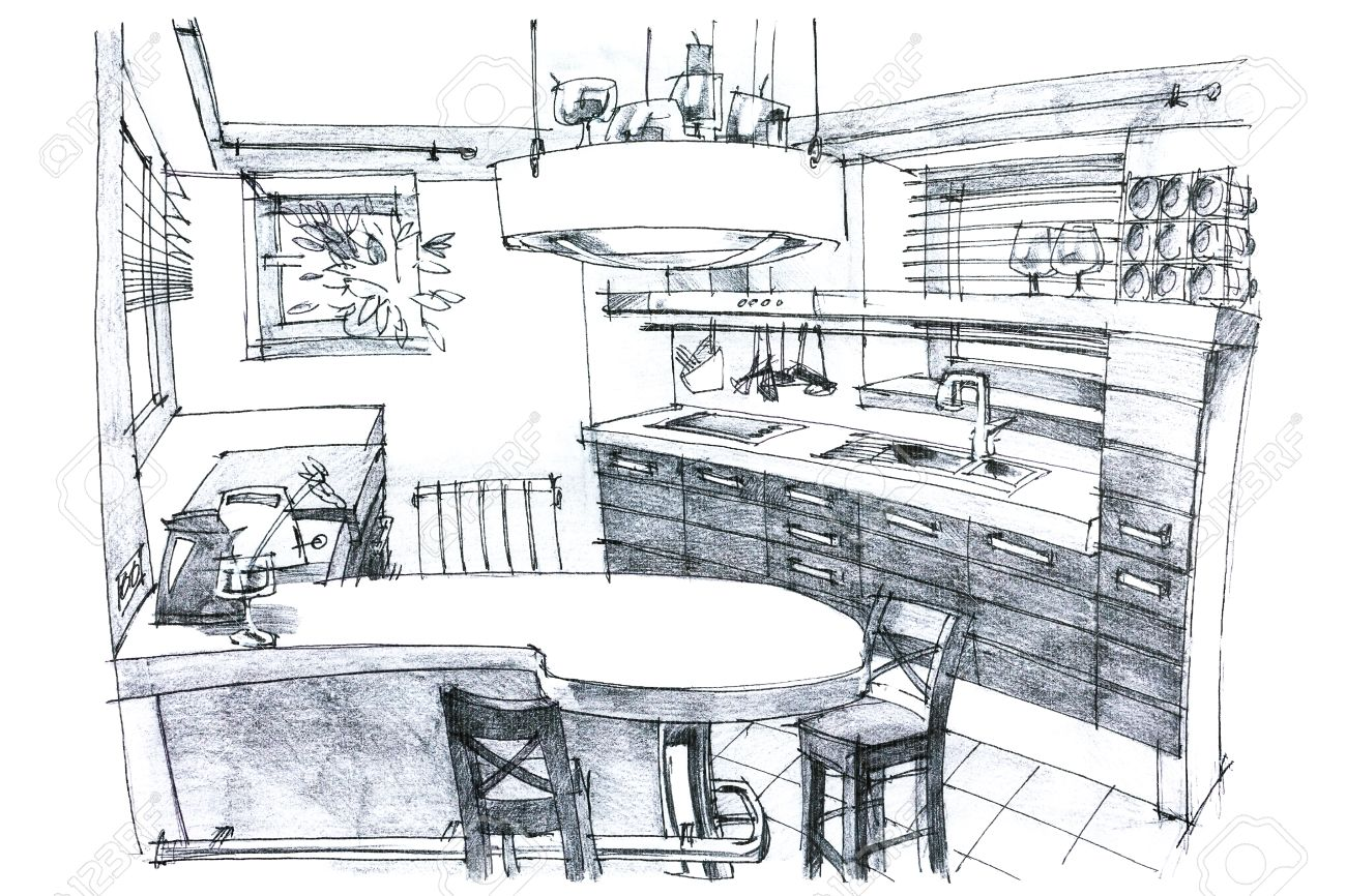 Interior hand drawing perspective of a stylish modern kitchen in black and white with furniture stock