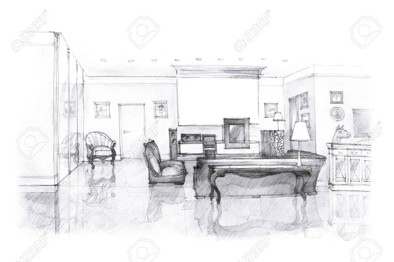 Dessin salon intérieur de la main moderne en noir et blanc avec des meubles