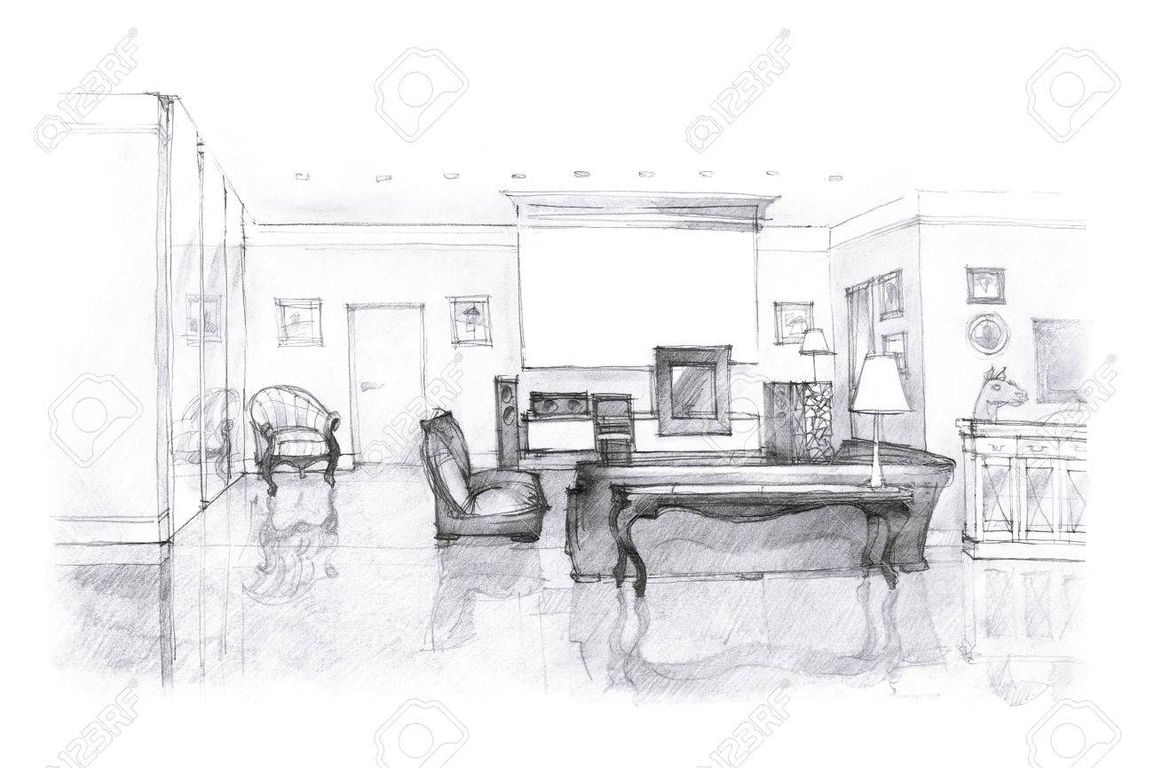 Salon Noir Et Blanc modern interior sitting room hand drawing in black and white..