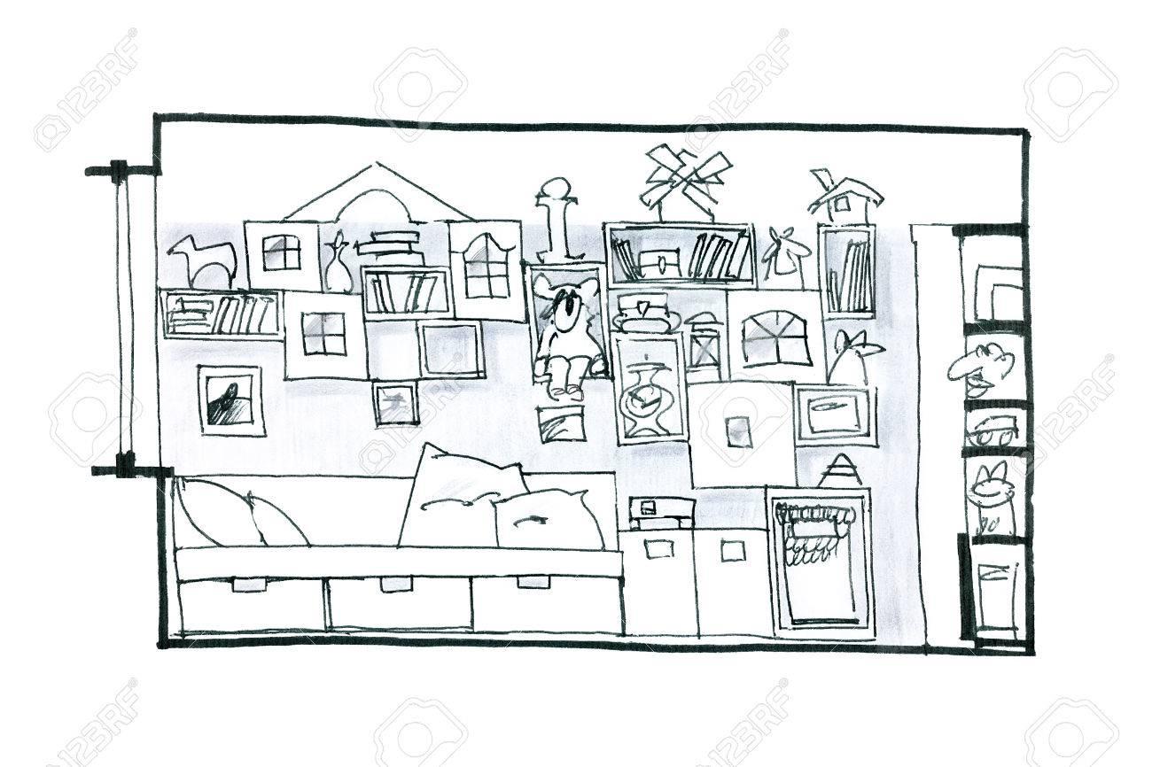Dessiner En Noir Et Blanc D\'une Idée Pour Une Chambre Pour Enfants ...