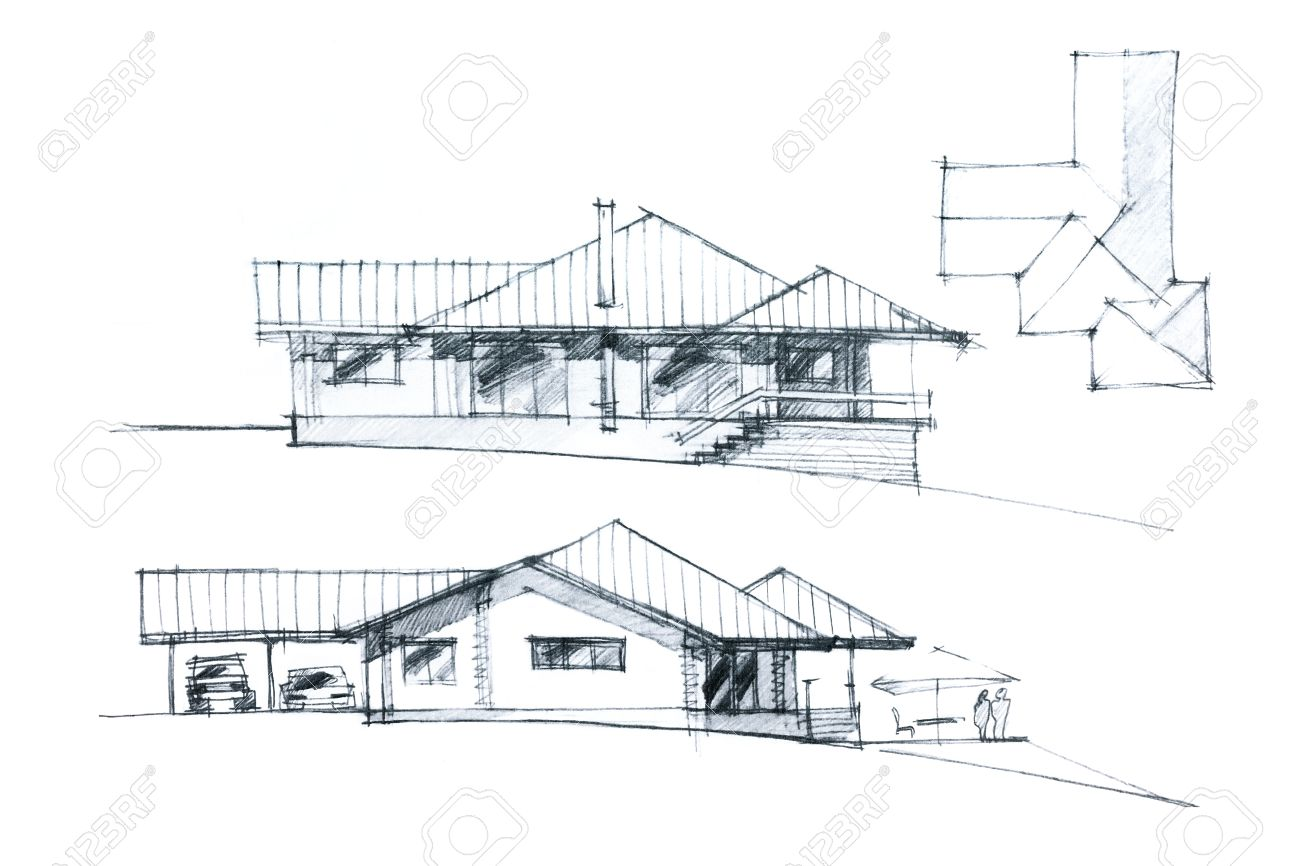 Black And White Hand Drawing Of A House Facade And Roof Plan Stock Photo Picture And Royalty Free Image Image 43578212