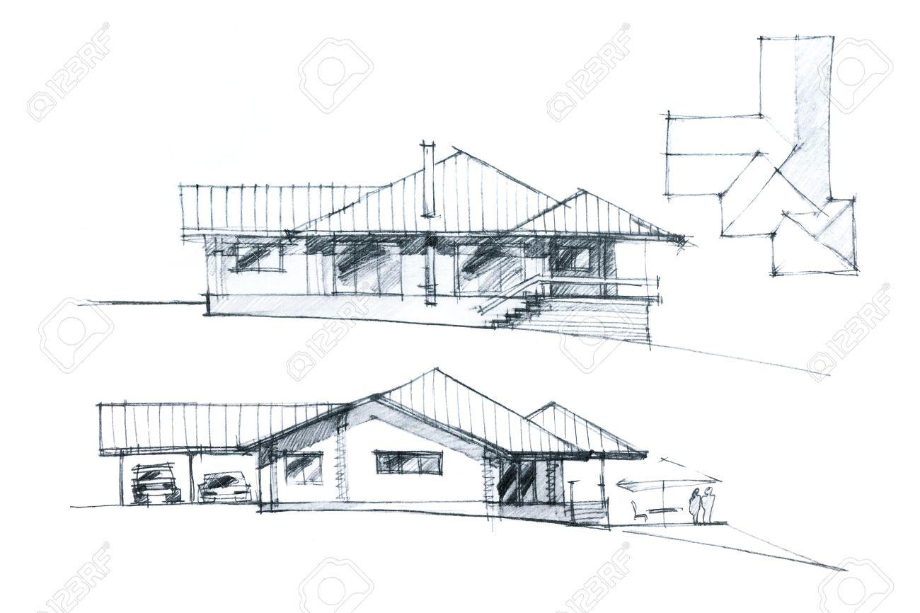 Dessin Noir Et Blanc Main D Une Facade De La Maison Et D Un Plan De Toit Banque D Images Et Photos Libres De Droits Image 43578212