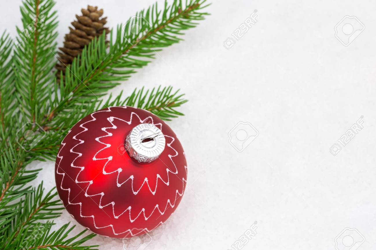 Holiday Decoration With Red Christmas Ball, Fir Branch And Pine